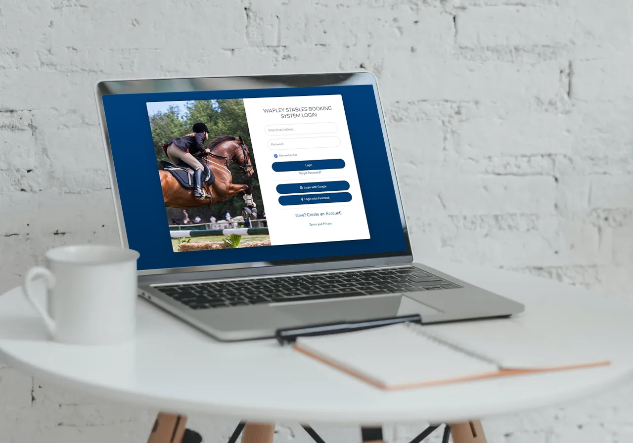 Equestrian Systems horse riding booking system login screenshot